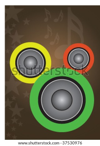 Vector illustration of retro gramophone and musical signs on a yellow background - stock vector