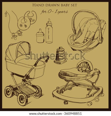Vector illustration of retro hand drawn baby set for 0-1 years old. Include pram, auto seat and baby walker. Design template for brochure - stock vector