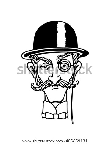 Vector illustration of retro male character. A head of elegant gentleman with mustache, monocle and bowler hat. Ink drawing, graphic style. - stock vector