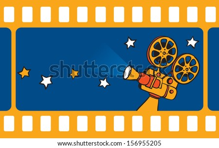 Vector illustration of retro motion picture camera and film frameÃ?Â?? Easy-edit layered vector EPS10 file scalable to any size without quality loss. High resolution raster JPG file is included. - stock vector
