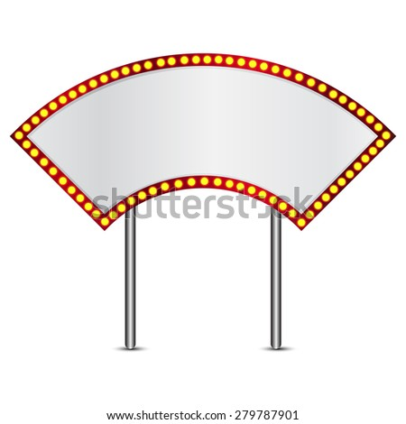 Vector illustration of retro sign with realistic lamps  - stock vector