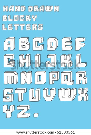 Vector illustration of retro Stylized hand drawn blosky big alphabet letters