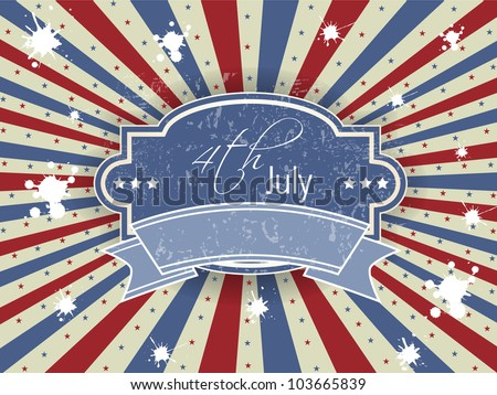 Vector illustration of ribbon or badge for 4 July American Independence Day and other events on rays background. EPS 10. - stock vector
