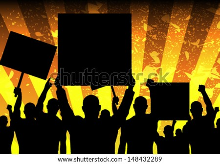 Vector Illustration of Riot People with Grunge Background - stock vector