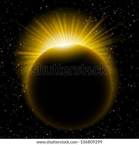 Vector illustration of rising sun over the planet