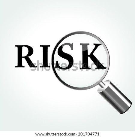 Vector illustration of risk concept with magnifying