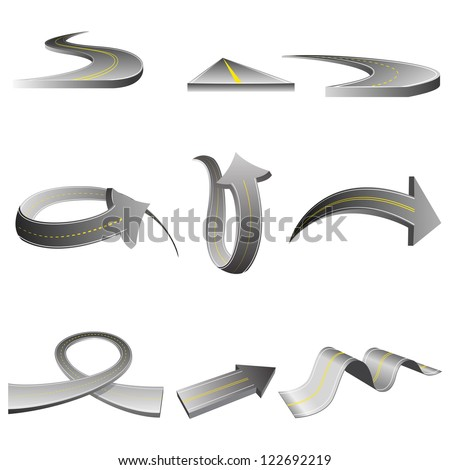 vector illustration of road in different arrow shape - stock vector