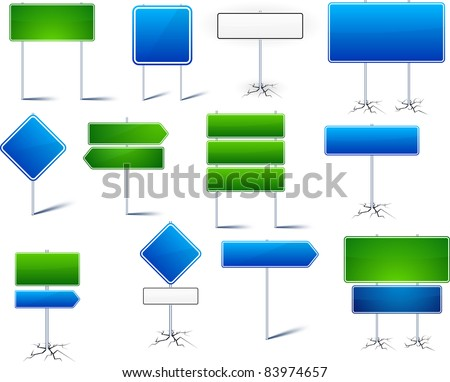 Vector illustration of road signs with blank frames for any text. - stock vector