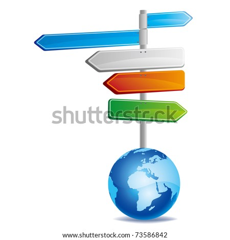 vector illustration of road signs with earth - stock vector