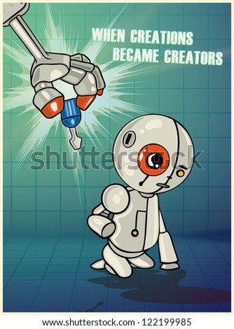 Vector Illustration of robot arm giving life to little robot - stock vector