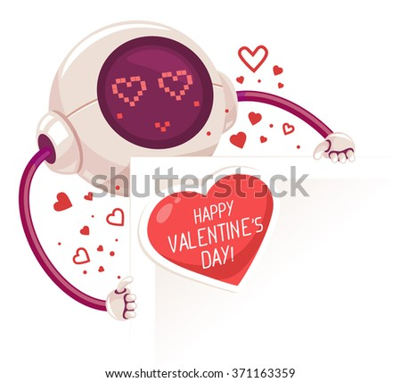 Vector illustration of robot holding paper card with red heart and inscription on white background. Art design for Valentine's Day greetings and card, web, banner, poster, flyer, brochure, print.   - stock vector