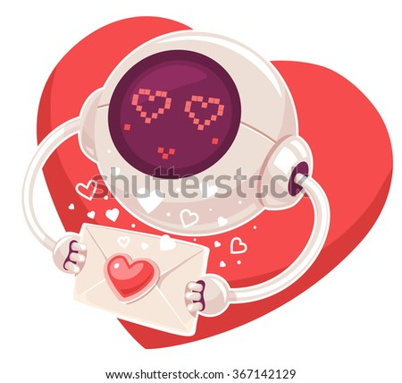 Vector illustration of robot with envelope and red heart on white background. Art design for Valentine's Day greetings and card, web, banner, poster, flyer, brochure, print.   - stock vector