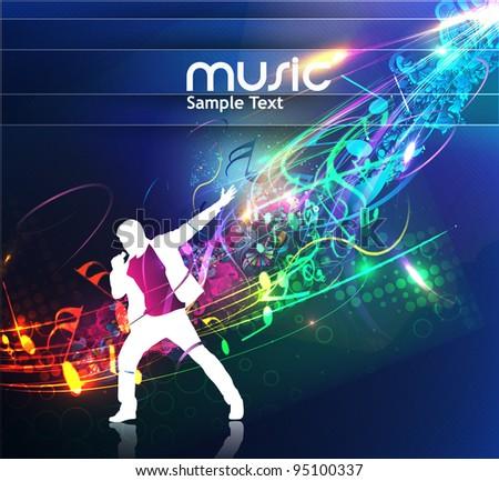 Vector illustration of rock star singer for music event design. vector illustration. - stock vector