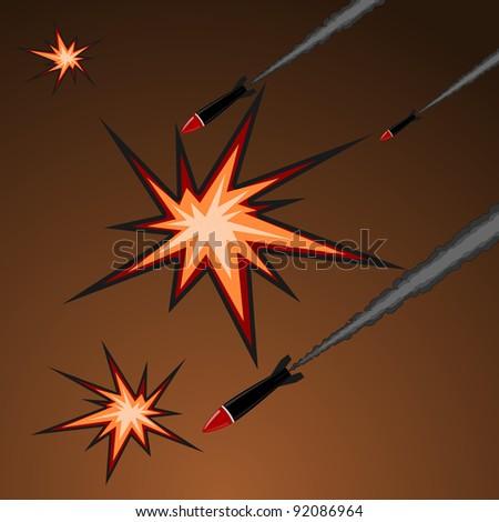 Vector illustration of rocket attack - stock vector