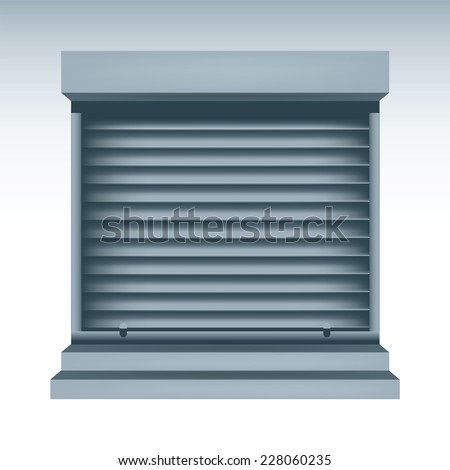 vector illustration of roll up shutters - stock vector
