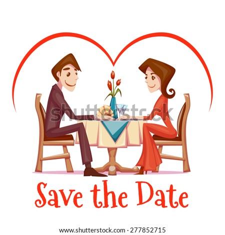 Vector illustration of romantic date of man and woman in restaurant. - stock vector