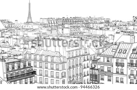 vector illustration of roofs in Paris at night - stock vector