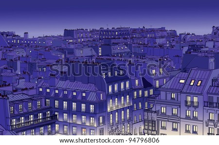vector illustration of roofs in Paris at night
