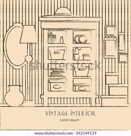 Vector illustration of room with cupboard, mirror, lamp, vase and boxes.Interior template for business card and banner. - stock vector