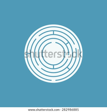 Vector illustration of round maze / labyrinth. Isolated on blue background, eps 8. - stock vector