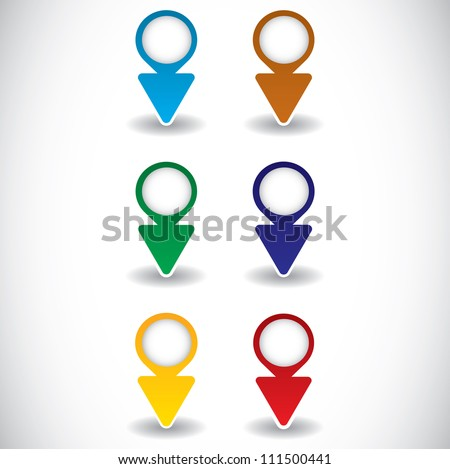 Vector illustration of round pointers. - stock vector