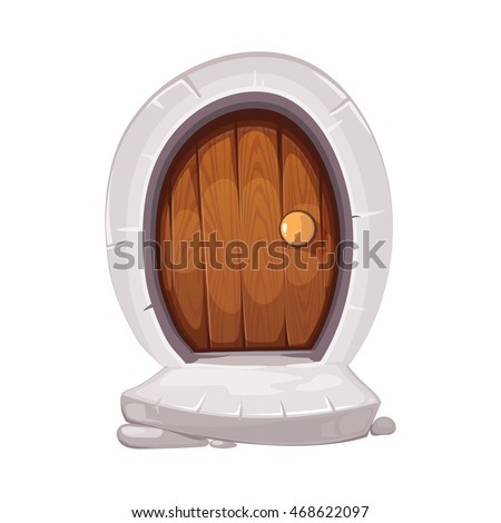Vector Illustration Of Round Small Door With Handle And Old Porch Steps.  Wood Material.