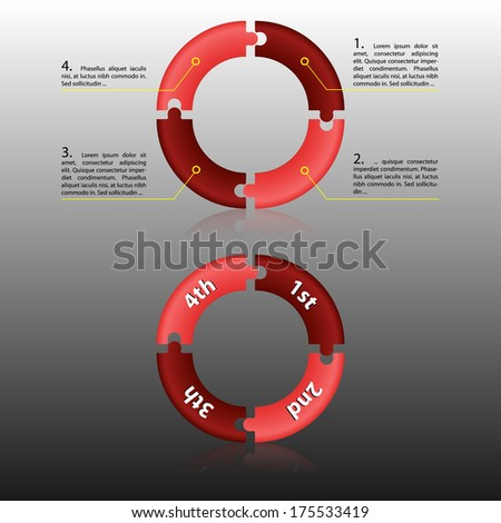 Vector illustration of rounded red puzzles. Place for description. - stock vector
