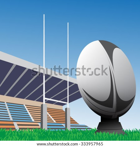 Vector illustration of rugby ball with field & goal posts in the background - stock vector