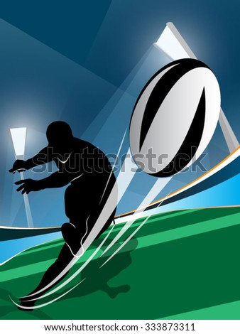 Vector illustration of rugby player kicking the ball