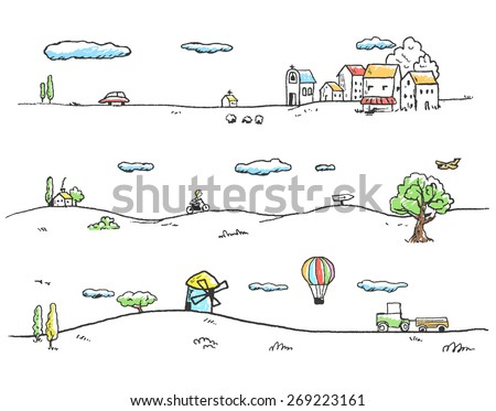 Vector illustration of rural landscape. Doodles hand-drawn style. - stock vector