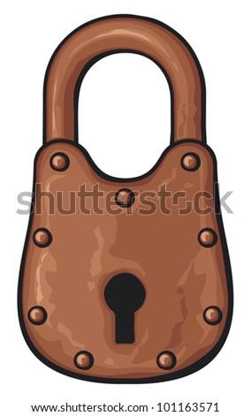 Vector illustration of rusty padlock (old padlock) - stock vector