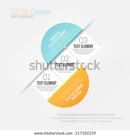 Vector illustration of s-shaped crease infographic design element. - stock vector