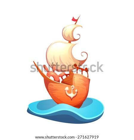 Vector illustration of sail ship in sea - stock vector