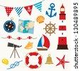 Vector illustration of sailing elements set. - stock vector