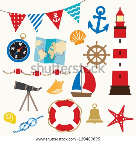 Vector illustration of sailing elements set. - stock vector