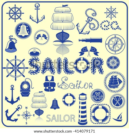 Vector illustration of sailor elements. Illustration can be used for web design, cards, logos and other design.