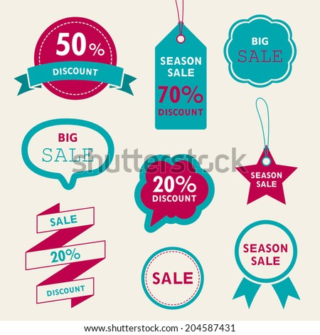 Vector Illustration of Sale Tags - stock vector