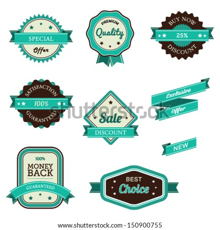 Vector illustration of sales related vintage labels and banners. - stock vector