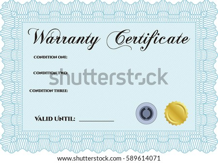 Vector illustration sample warranty certificate template stock vector illustration of sample warranty certificate template in blue color yelopaper Image collections