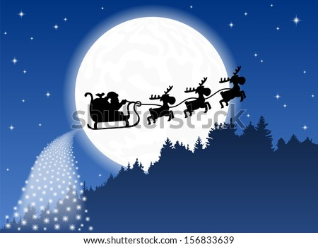 vector illustration of Santa Claus and his reindeer sleigh backlit by the full moon - stock vector