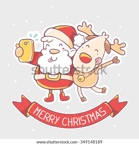 Vector illustration of santa claus and reindeer make selfie with red ribbon on gray background.Hand draw line art design for poster,flyer,brochure,greeting card,web,banner,board,postcard,paper print - stock vector