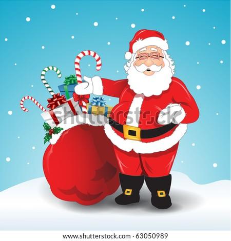 Vector illustration of Santa Claus bag of gifts - stock vector