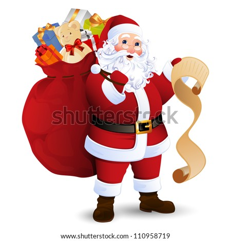 Vector Illustration of Santa Claus carrying sack full of gifts - stock vector