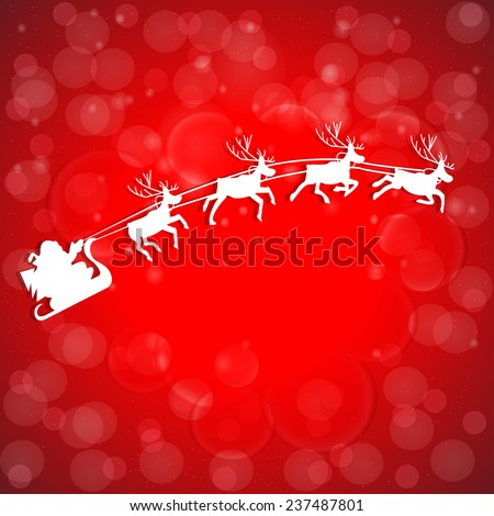 Vector Illustration of Santa Claus Driving in a Sledge - stock vector