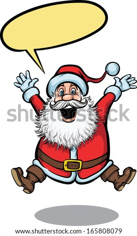 Vector illustration of Santa Claus jumping happy. Easy-edit layered vector EPS10 file scalable to any size without quality loss. High resolution raster JPG file is included.  - stock vector