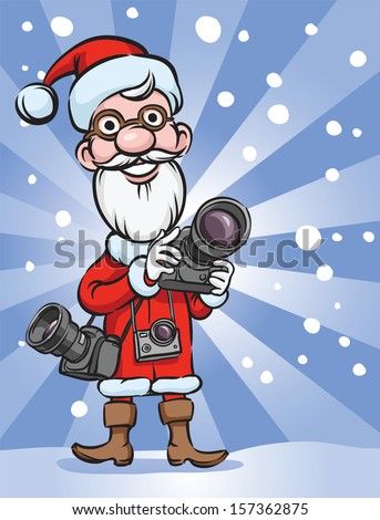 Vector illustration of Santa Claus photographer. Easy-edit layered vector EPS10 file scalable to any size without quality loss. High resolution raster JPG file is included. - stock vector