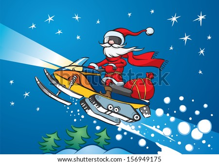 Vector illustration of Santa Claus riding on snowmobile. Easy-edit layered vector EPS10 file scalable to any size without quality loss. High resolution raster JPG file is included. - stock vector