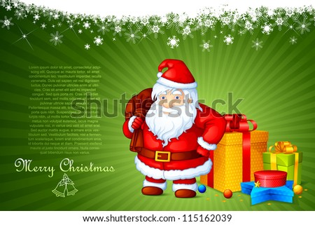 vector illustration of Santa Claus standing with Christmas gift - stock vector