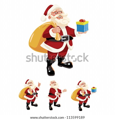 Vector illustration of Santa Claus. This is 9 pieces set (a body, 2 heads, a hat, 4 arms and a gift). - stock vector
