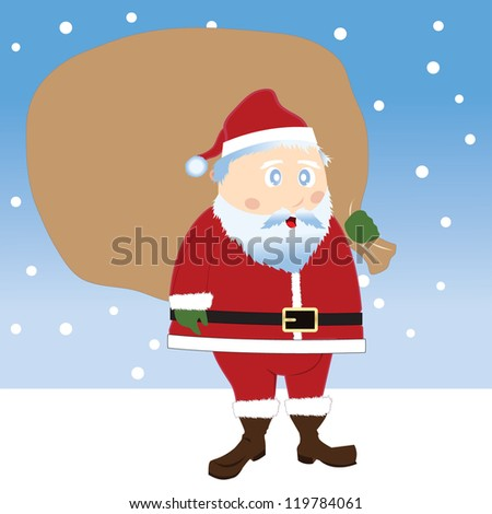vector illustration of Santa Claus with a bag full of gifts - stock vector